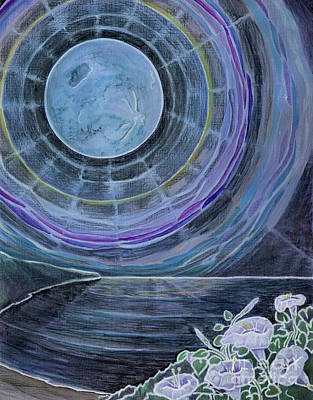 Painting - Moonflowers On The Supermoon by Amelia at Ameliaworks