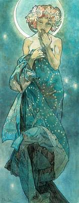 Painting - Moonlight by Alphonse Mucha