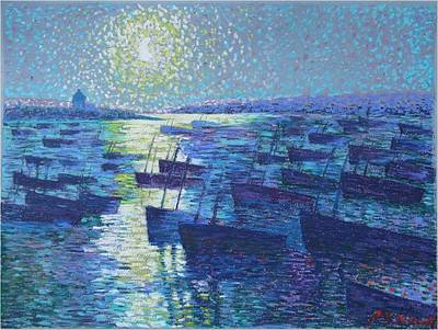 Painting - Moonlight And Fishing Boat by Ping Yan