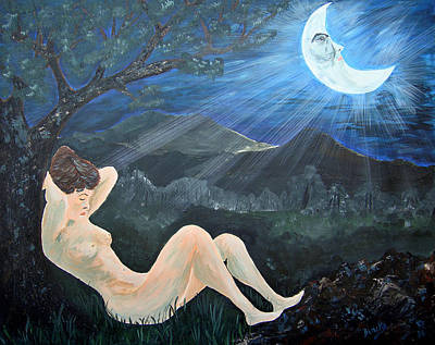 Moonlight And Sorrow Art Print by Donna Blackhall