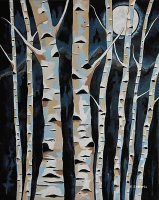 Digital Art - Moonlight And The Birch by Kathleen Sartoris