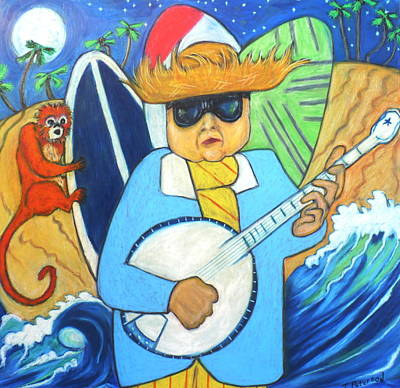Painting - Moonlight Banjo Surfmonkey by Todd  Peterson