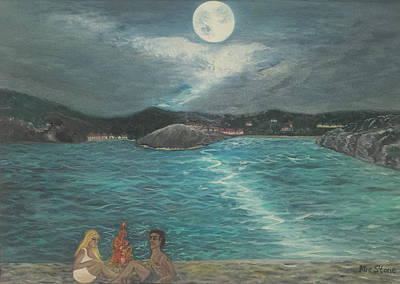 Sea Moon Full Moon Painting - Moonlight Beach Campfire by Petra Theodoridou
