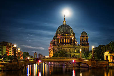 Berlin Cathedral Photograph - Moonlight - Berlin Germany by Nico Trinkhaus