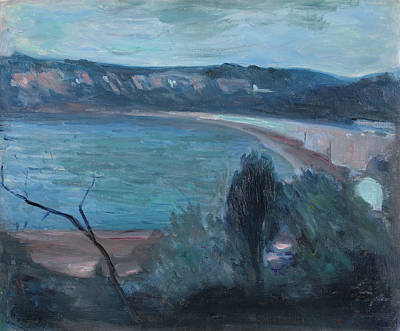 Coastal Painting - Moonlight By The Mediterranean by Edvard Munch