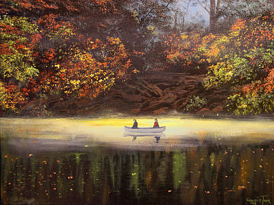 Moonlight Canoeing Print by Connie Tom