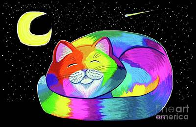 Digital Art - Moonlight Cat Napping by Nick Gustafson