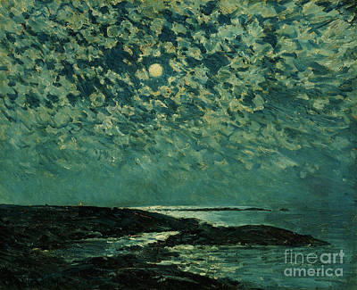 Coastal Maine Painting - Moonlight by Childe Hassam