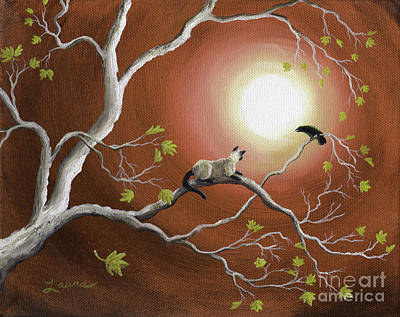 Moonlight Conversation In Sepia Art Print by Laura Iverson