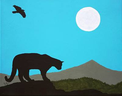 Painting - Moonlight Cougar by Ralph Root