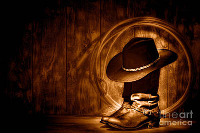 Photograph - Moonlight Cowboy Boots - Sepia by Olivier Le Queinec