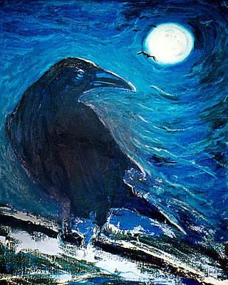 Painting - Moonlight Crow by Katt Yanda