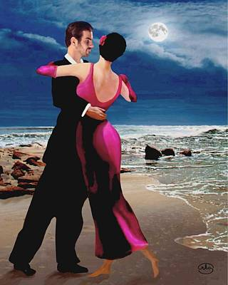 Ballroom Painting - Moonlight Dance by Ron Chambers