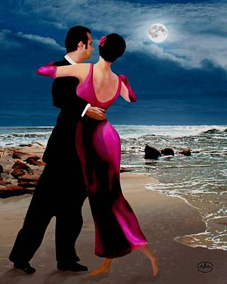 Ballroom Dancing Painting - Moonlight Dance V2 by Ron Chambers