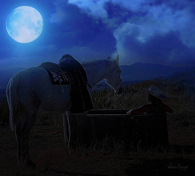 Painting - Moonlight Dreams_ 1 Of 4 by Walter Herrit