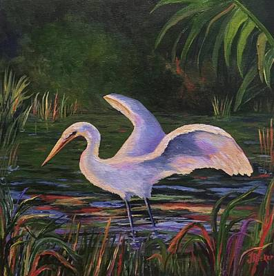 Painting - Moonlight Egret by Jane Ricker