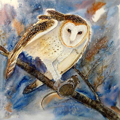 Moonlight Feast - Barn Owl Art Print