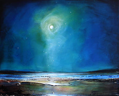 Moonlight Beach Painting - Moonlight Flyby by Toni Grote