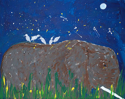 Cattle Egret Painting - Moonlight Friends by Tracy May