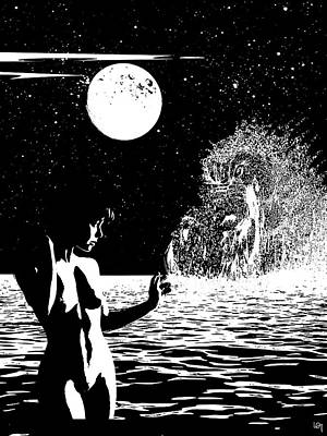 Moonlight Girl Meet The Water Dragon Art Print
