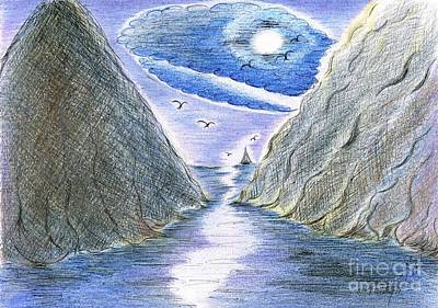 Mixed Media - Moonlight Glowing Through The Steep Cliff Ridges by Teresa White