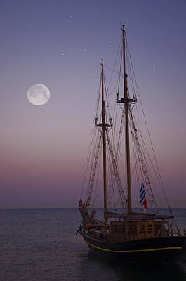 Moonlight In The Med Art Print by Mark H Roberts
