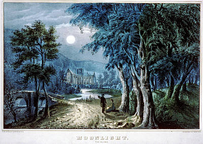 Painting - Moonlight In The Ruins by Currier and Ives - Joy of Life Art