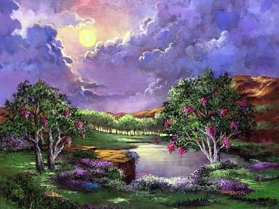 Painting - Moonlight In The Woods by Randol Burns