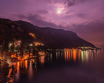 Photograph - Moonlight In Varenna Italy by Brenda Jacobs