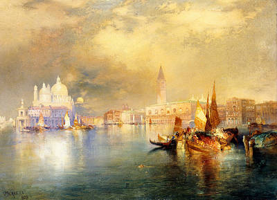 Reflecting Water Painting - Moonlight In Venice by Thomas Moran