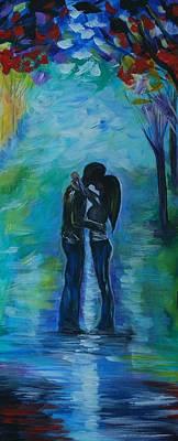 Painting - Moonlight Kiss Series 1 by Leslie Allen