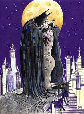 Catwoman Painting - Moonlight Kiss by Silverio Godinez