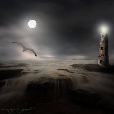 The Houses Digital Art - Moonlight Lighthouse by Lourry Legarde