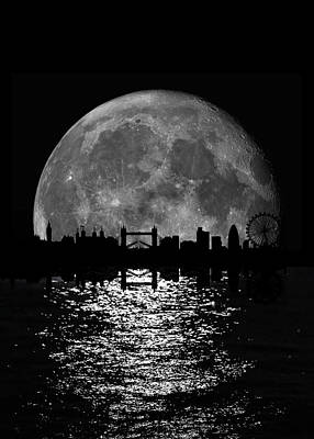 Moonlight London Skyline Art Print by Mark Rogan