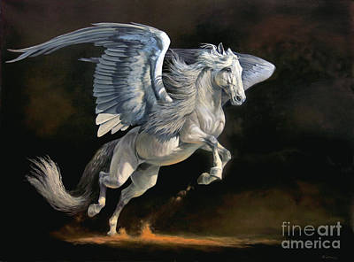 Pegasus Wall Art - Painting - Moonlight Magic by Jeanne Newton Schoborg