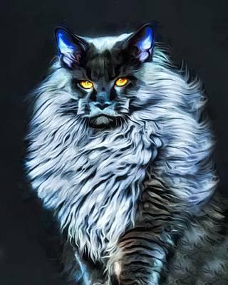 Coon Cat Digital Art - Moonlight Main Coon Cat by Scott Wallace