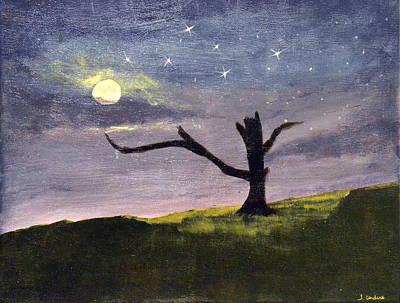 Featured Tapestry Designs - Moonlight Tree in Meadow by Tara Cordero
