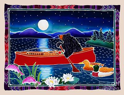Batik Painting - Moonlight On A Red Canoe by Harriet Peck Taylor