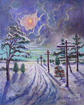 Painting - Moonlight On A Snowy Road by Randol Burns