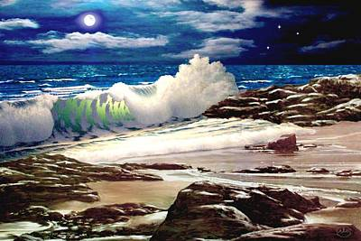 Moonlight Beach Painting - Moonlight On The Beach by Ron Chambers
