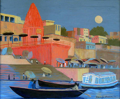 Painting - Moonlight On The Ghats by Art Nomad Sandra  Hansen