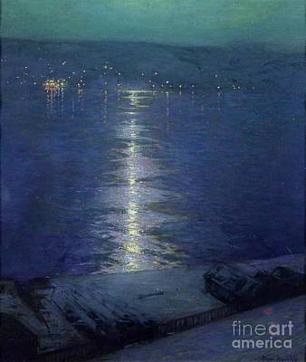 Riviere Painting - Moonlight On The River by Lowell Birge Harrison