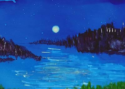 Joy Dorr Painting - Moonlight On The Water by Joy Dorr