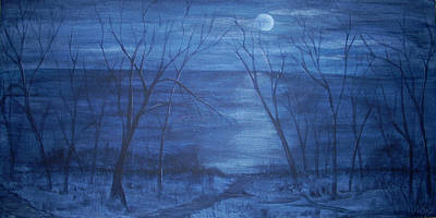 Moonlight On The Water Art Print by Nora Niles