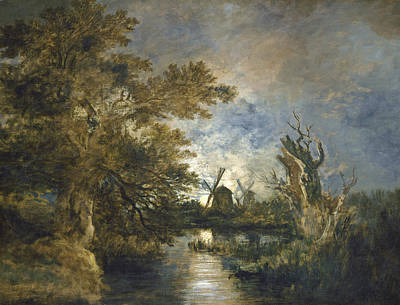 Painting - Moonlight On The Yare by John Chrome