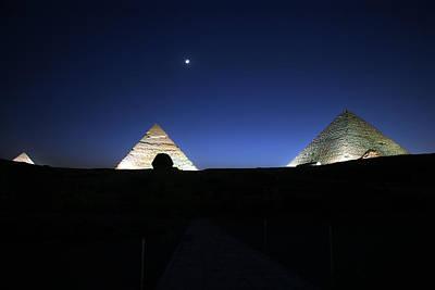 Moonlight Over 3 Pyramids Art Print