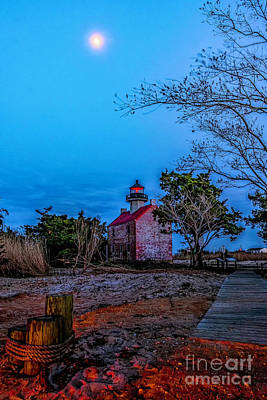 Photograph - Moonlight Over East Point Lighthouse by Nick Zelinsky