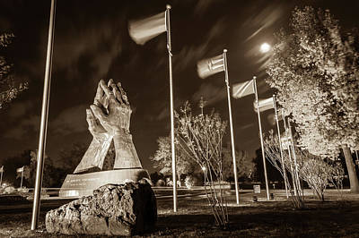 Photograph - Moonlight Over Oru - Tulsa Praying Hands - Sepia Edition by Gregory Ballos
