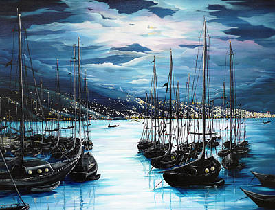 Greetings Card Painting - Moonlight Over Port Of Spain by Karin  Dawn Kelshall- Best
