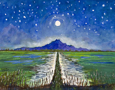 Dolores Painting - Moonlight Over Rice Fields by Dolores Mitchell